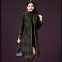 High Quality 2018 New Autumn Winter Middle Aged Women Turn Down Collar Plaid Woolen Jacket Mother
