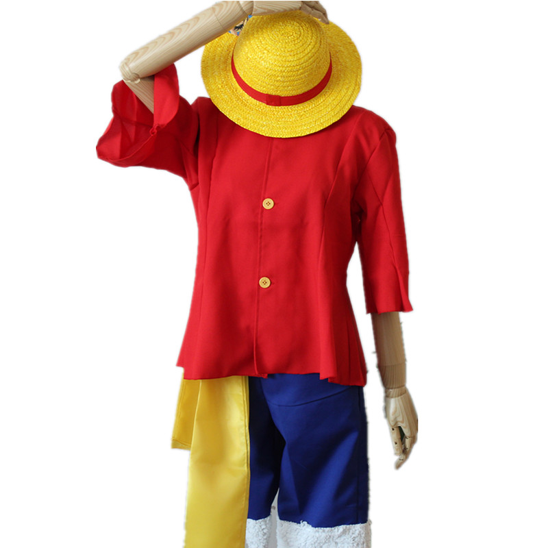 One piece Anime Costume Monkey D Luffy Cosplay Red Shirt Pants Summer Clothing For Halloween Party men Boy Cosplay Costumes