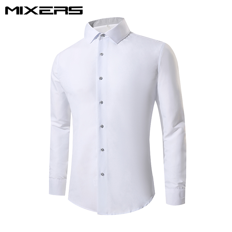 2018 New Arrival Cotton Formal Dress Shirt Men Long Sleeve Camisa White Wedding Shirts Men Slim Fit Casual Shirts Male Clothes