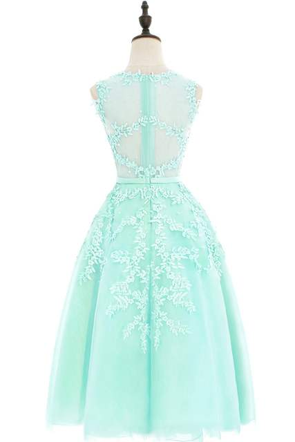 Babyonline Dust Pink Tea-Length Lace Applique Cocktail Dresses 2017 Sleeveless  Party Dresses Sexy Sheer 4f0fa1ab7f9a