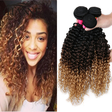 Blonde Brazilian Ombre Curly Hair 3 Bundles Afro Kinky Curly Virgin Hair Unprocessed Ombre 3 Tone Human Hair Weave Extensions