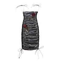 le palais vintage Very Sexy See Through Dazzle Dress Pleated Slim High Rise Rose Decor Spaghetti Straps Pencil Dress 2019 Spring