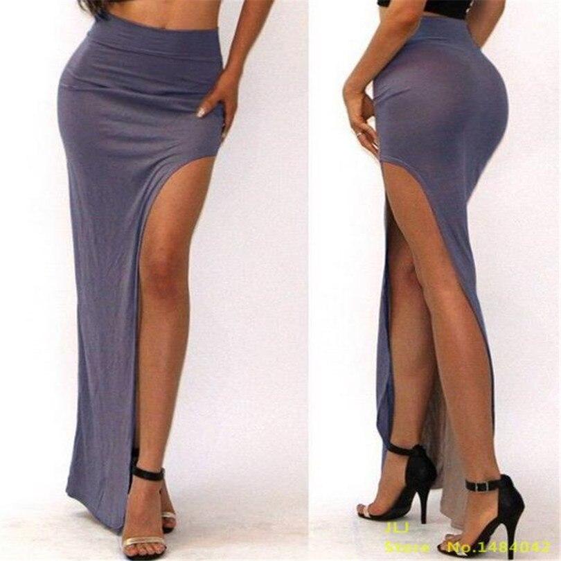 VISNXGI Новая летняя Высокая талия модная Очаровательная сексуальная женская юбка открытая боковая раздельная юбка размера плюс 7 цветов на выбор - Цвет: D001 Gray