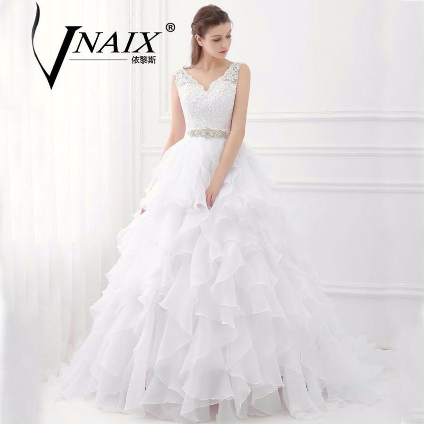 ww015 new arrival real design ball gown ruffles wedding dresses new organza v neck spaghetti straps princess vestido de noiva