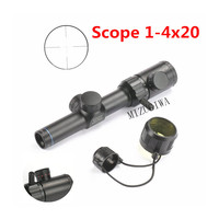 Tactical Scope 1 4x20 Rifle Scope Red Green illumination Range Finder Reticle BDC Air Rifle Sight Mira Para Hunting Caza