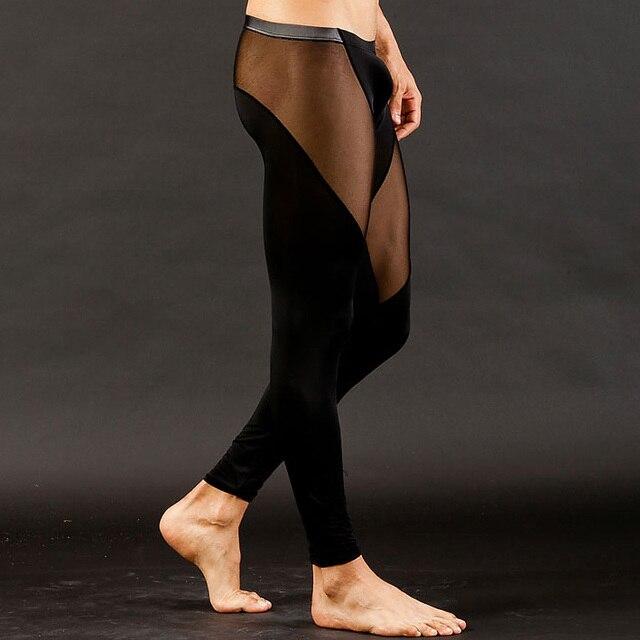 2016 Pantalones Largos de Los Hombres Atractivos Ropa Interior de seda de Nylon Mesh Ver A Través de Mens Transparentes Bottoms Low Rise Leggings Stocking
