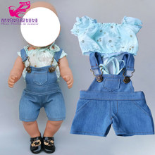 "43cm new born baby Doll clothes Bebe jeans strap pants set for 18"" 45cm girl dolls denim trousers(China)"