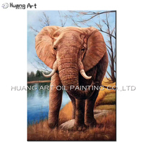 Professional Artist Handmade Impression Elephant Oil Painting On Canvas Art New Arrivals African Animals Landscape Painting
