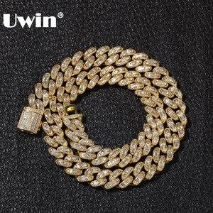 Image 1 - UWIN Luxe Iced Cubic Zirkoon Miami Baguette Cubaanse Link Chain Kettingen Hiphop Sqaure CZ Fashion Top Kwaliteit Heren Sieraden Ketting