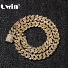 UWIN luksusowe Iced Cubic cyrkon Miami bagietka kubański Link Chain naszyjniki Hiphop Sqaure CZ modny top Quality mężczyzna biżuteria łańcuszek