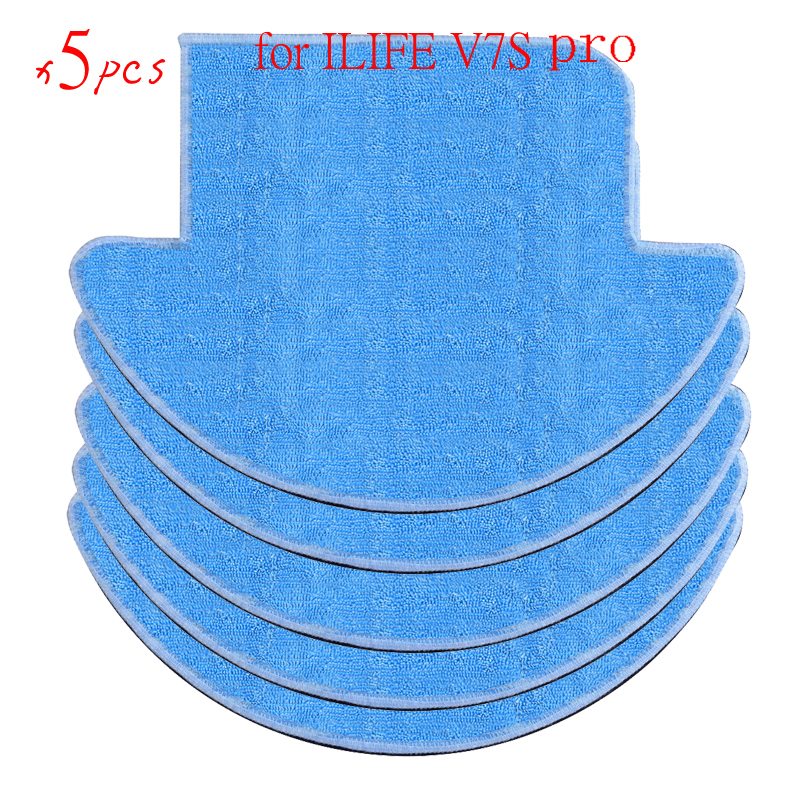 5 pcs ilife v7s pro Cloths Vacuum Cleaner Parts for chuwi ilife v7s pro Mop Cloths robot vacuum cleaner 1x main brush 6x side brush 2x cleaning mop cloth 2x hepa filter kit for chuwi ilife v7s v7s pro robotic vacuum cleaner parts