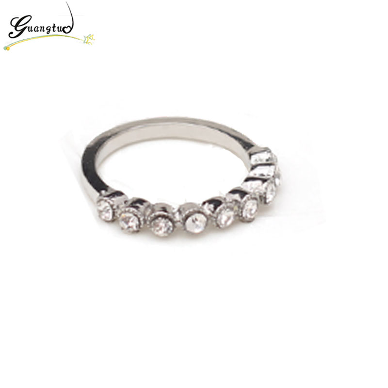 Fashion Half Circle Crystal Ring Anillos For Women Wedding & Engagement Jewelry Finger Rings Bijoux Gift Wholesale