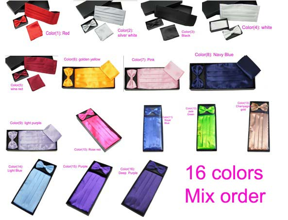 1 Set Of Cummerbunds Bow Tie And Pocket Square For Wedding Graduation, 16 Colors To Choose
