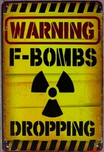 1 pc warning bombs dropping room No trespassing radiation Tin Plate Sign wall plaques Man cave vintage metal Poster
