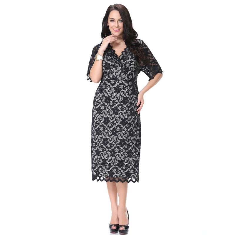 df42430abfa Europe And The United States plus size women clothing Spring And Autumn  Half Sleeve V Collar Sexy Slim Lace Dress XL-7XL CM6012