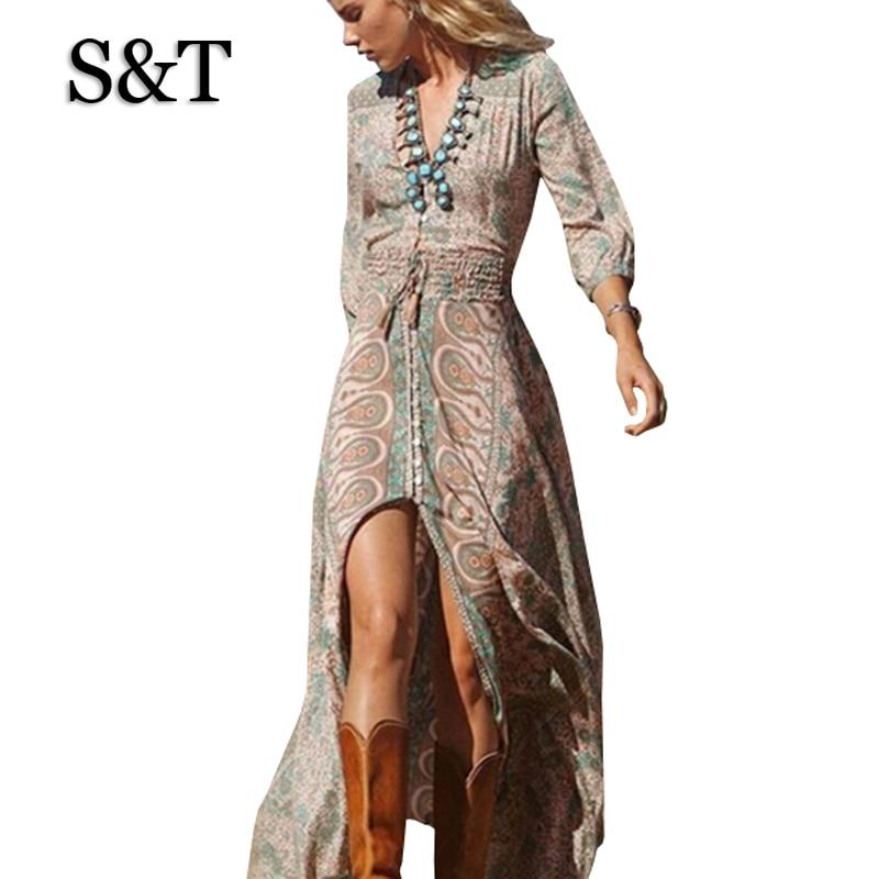 2015 Women Maxi Winter Dress Vestidos Bohemian Long Sleeve
