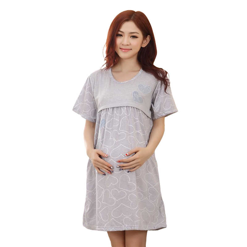 b199ea5a091 Home Breastfeeding maternity nightgown pajamas Nursing nightie maternity- dress for lactating mothers Clothes pregnant women