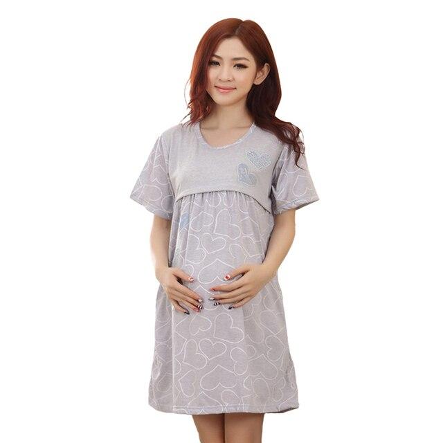 2722994d2 Inicio lactancia maternidad camisón pijamas enfermería camisón Maternidad-vestido  para lactantes madres ropa mujeres embarazadas