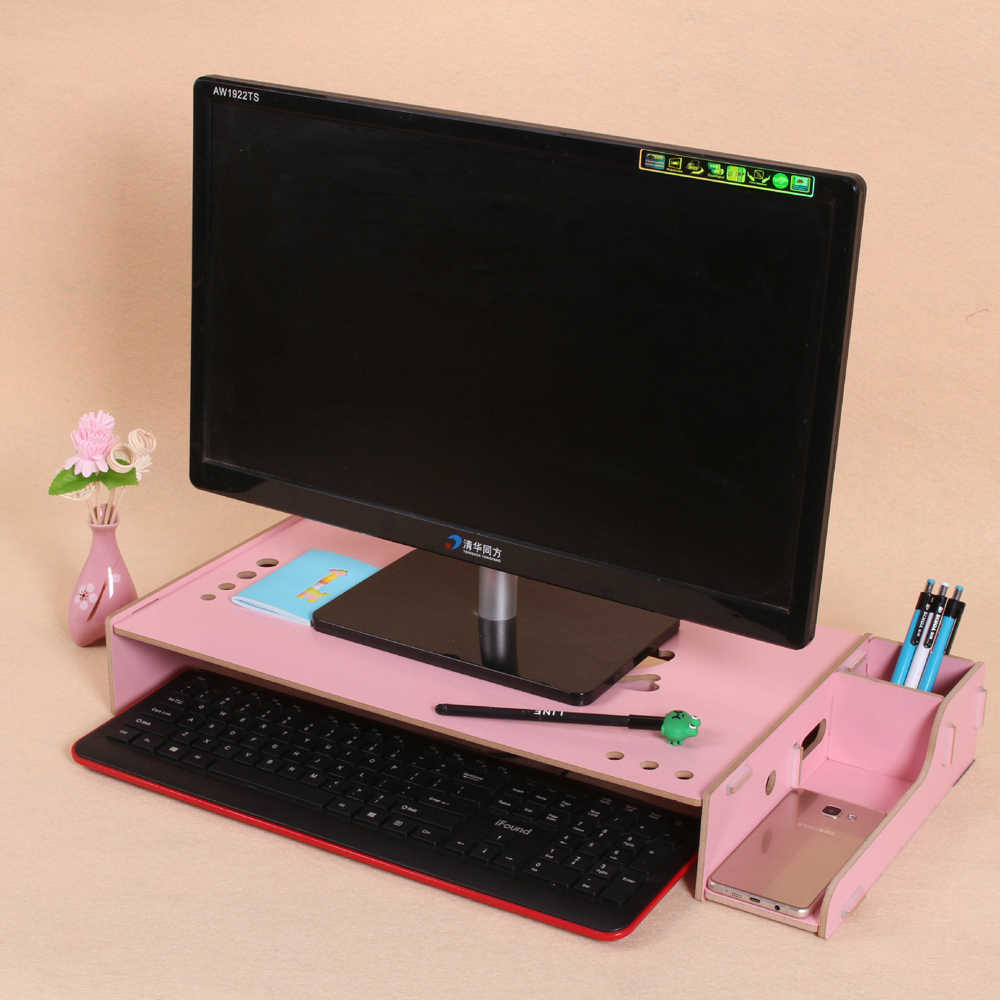 Wooden Monitor Stand Riser Computer Desk Organizer with Keyboard Mouse  Storage Slots for Office Supplies Teachers Home Storage