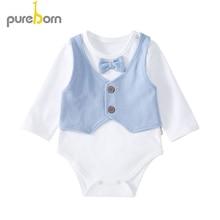 Baby Bodysuit Long-Sleeve Newborn Cartoon Unisex for Costumes Bow-Tie Gentleman