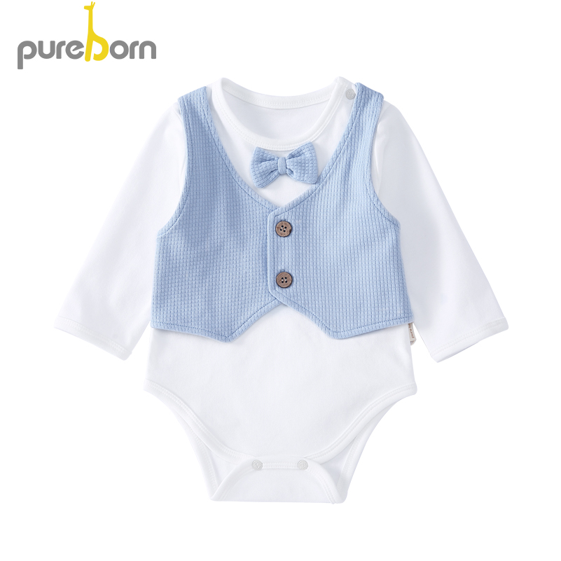 Pureborn Newborn Baby Bodysuit Gentleman Bow Tie Clothes For Baby Boys Long Sleeve Summer Costumes