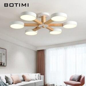 Image 2 - Потолочная люстра BOTIMI 220 В 110 В для гостиной, современный белый круглый блеск, деревянные светильники для спальни, потолочные светильники для помещений