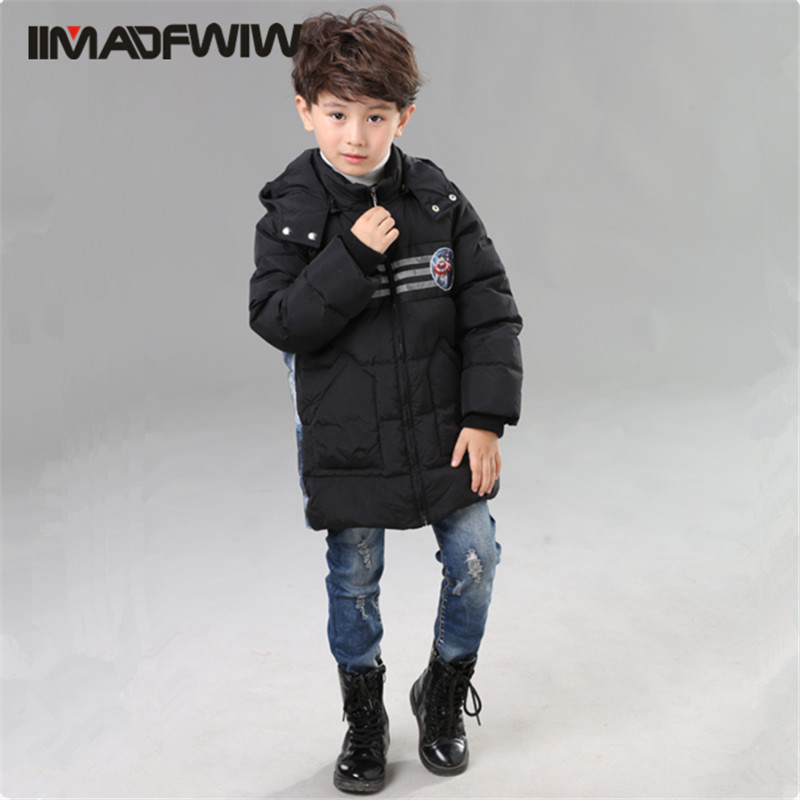 4 10T 2016 Boys Down Jacket Winter Coat Outerwear Fashion Hooded Striped Character High Quality Children