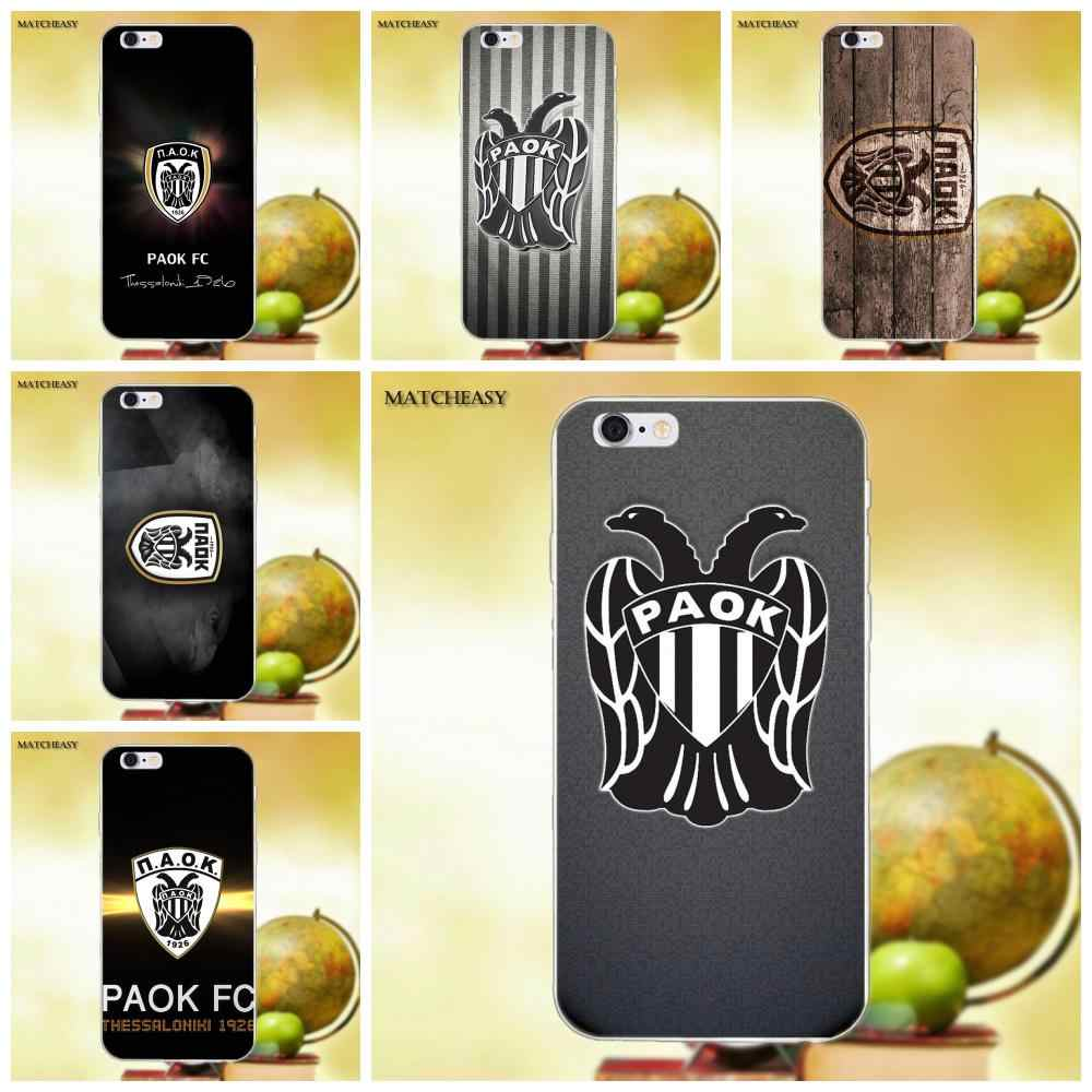 Soft Silicone TPU Transparent Capa Cover Paok Fc Thessaloniki For Apple iPhone X XS Max XR 4 4S 5 5C SE 6 6S 7 8 Plus X