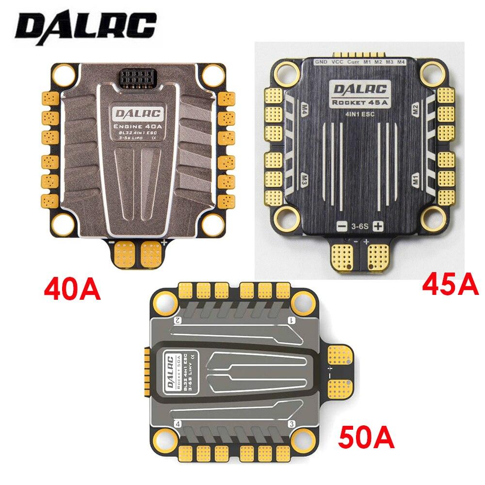 DALRC 4in1 ESC 40A 45A 50A 4 in 1 ESC Brushless 3-6 s Blheli_32 LIHV DSHOT1200 Pronto per FPV Da Corsa Compatiable con F405 F722 FC