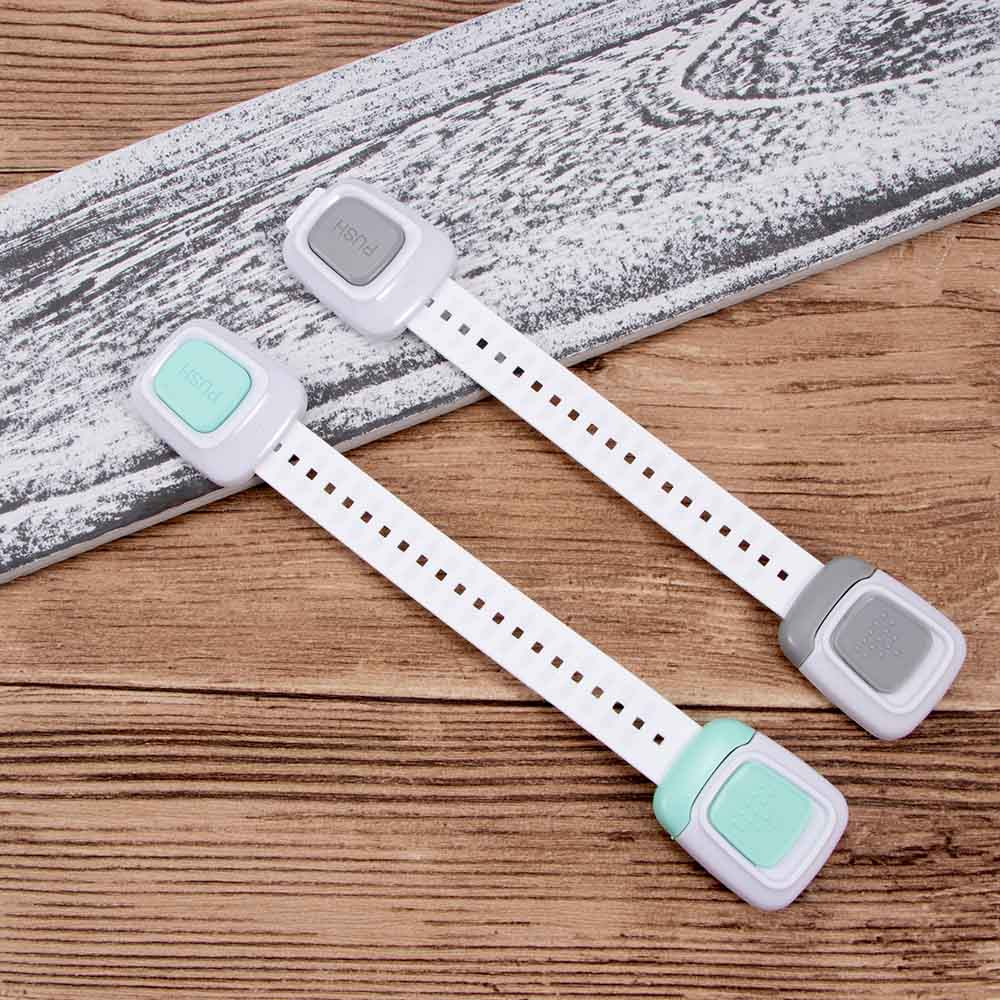 Multi-function Double Button Baby Anti Pinch Hand Door Refrigerator Lock Children Safety Protection Drawer Toilet Lock