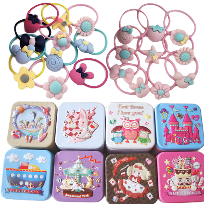 40Pcs/lot Children Cute Hairband Hair Accessories Flower Bow Cartoon Headband Elastic Hair Bands with Tin Box Baby Girl Gift