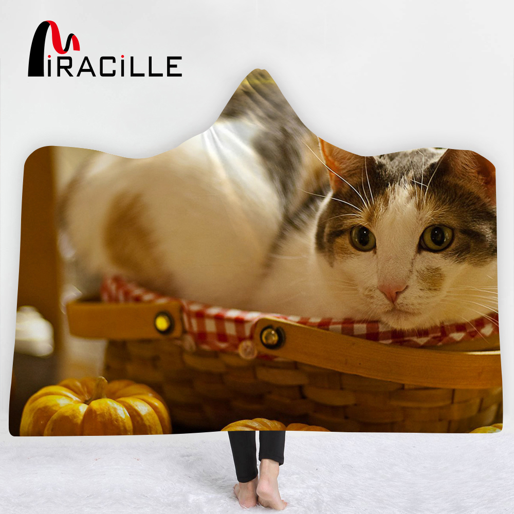 Miracille 3D Lovely Cat Dog Hooded Blanket Sherpa Fleece Warm Adults Child Blanket Winter High Quality