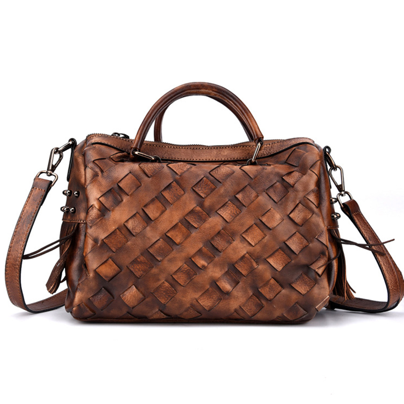 Crossbody Women Tote Handbag Bag Woven Purse Leisure Pillow Vintage Real Genuine Leather Top Handle Shoulder