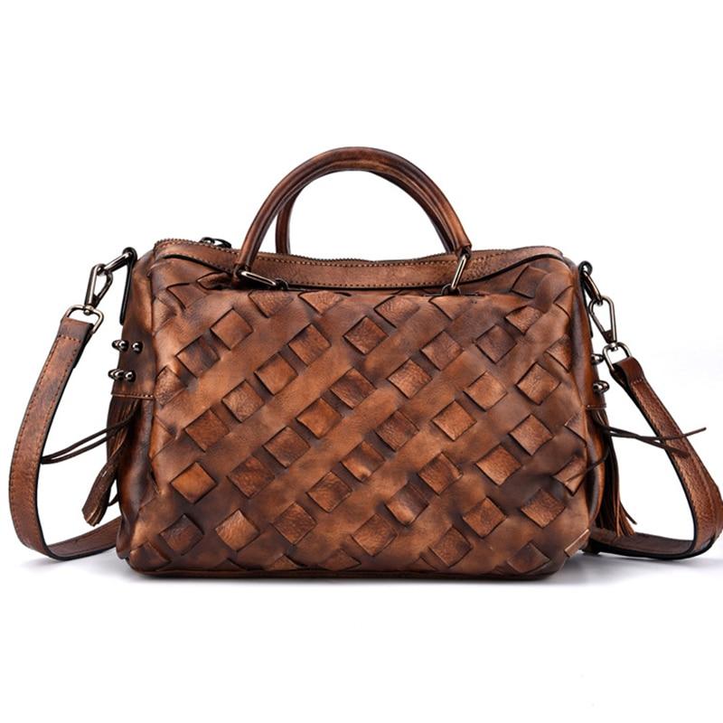 Crossbody Women Tote Handbag Bag Woven Purse Leisure Pillow Vintage Real Genuine Leather Top Handle Shoulder