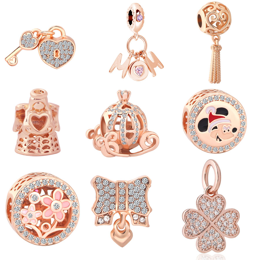 New Original pink gold Pumpkin car angle Mom diy pendant bead fit European original Pandora Bracelet for Women Jewelry Berloque(China)