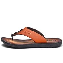 Мужские Пляжные Шлепанцы из коровьей кожи; модные Вьетнамки с мягкой подошвой; трендовая дышащая мужская летняя обувь для отдыха
