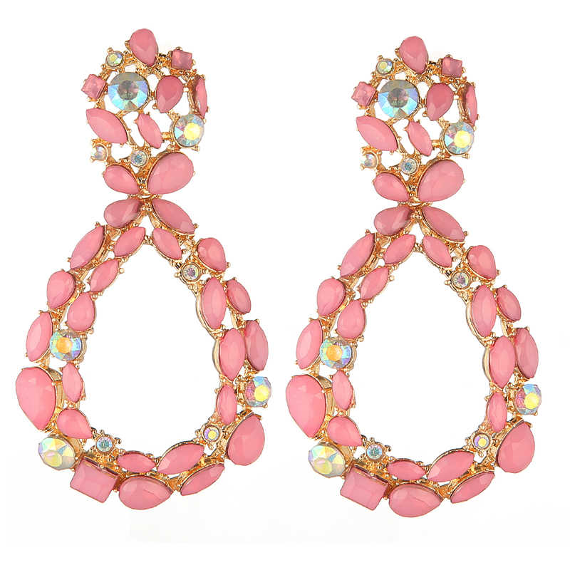 pink Water drop rhinestone Earrings 2019 Big Crystal Earrings For Women Large Fashion dangle Earing Luxury Party  Jewelry