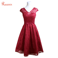 Real Photo Dark Red Prom Dresses Short Print Formal Evening Gowns V Neck Tea Length Solid