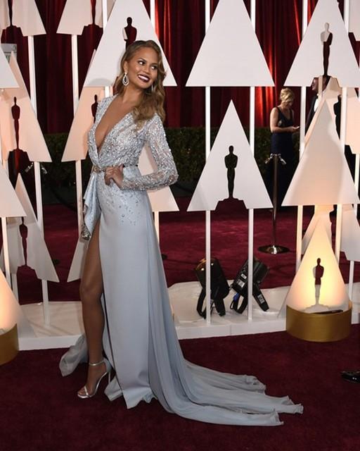 oscar chrissy teigen sheer manga larga con cuentas vestidos de noche