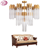 Youlaike Gold Bronze Modern Glass Chandelier Luxury Living Dining Room Light Fixture Creative Design Home Decor Indoor Lighting