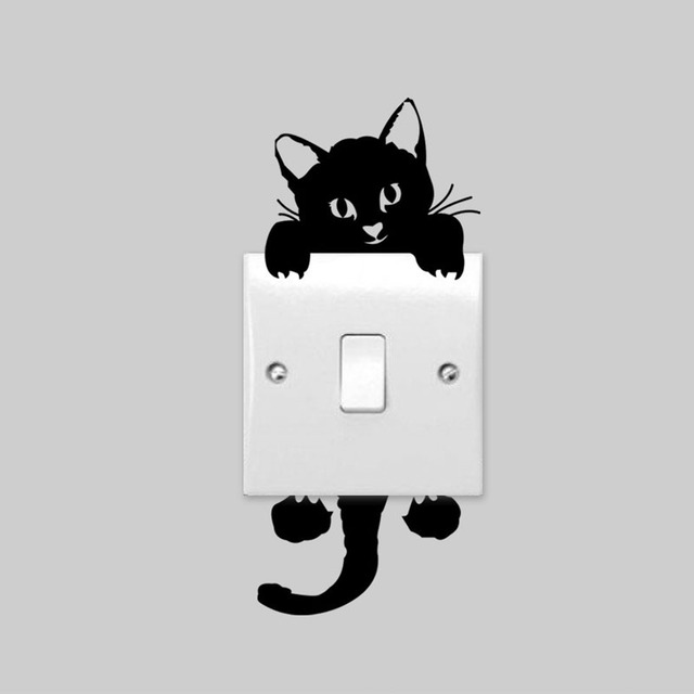 5 pcs diy lucu lucu kucing hitam beralih decal wallpaper dekorasi kamar anak anak tidur