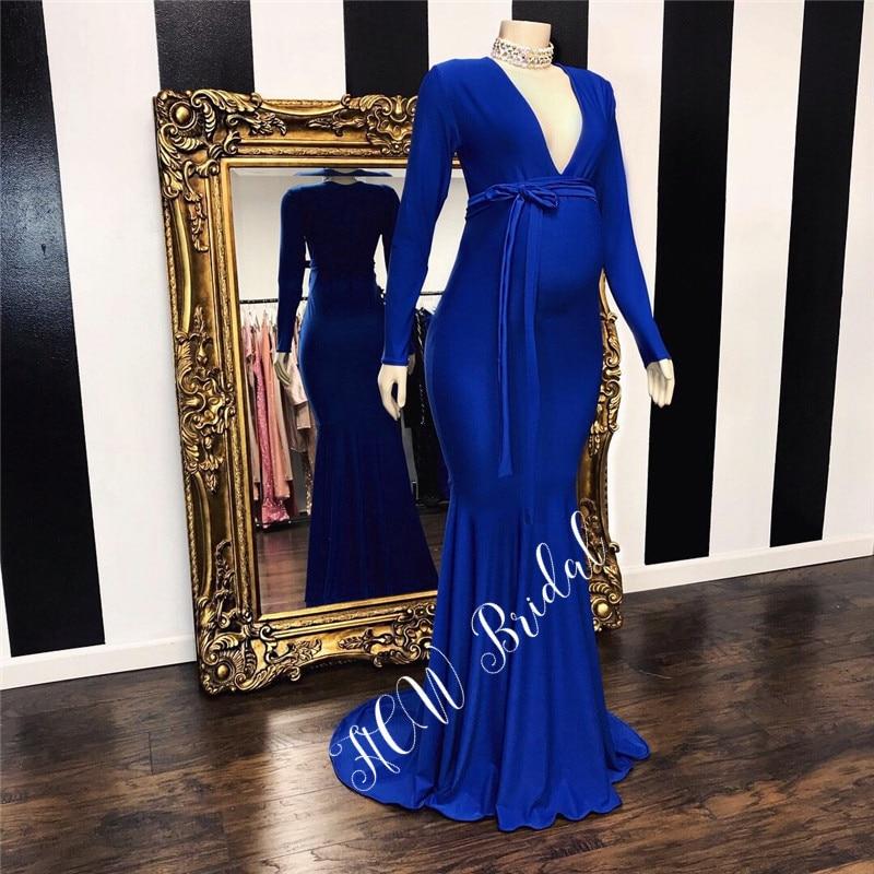 Elegant Royal Blue Long Sleeve Pregnant Woman Evening Dress Floor Length V Neck Mermaid 2019 New Prom Gowns Vestido De Festa