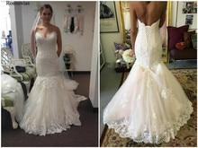 Mermaid Lace Wedding Dresses 2019 V Neck Up Back Sweep Train Applique Beaded Modest Bridal Gowns Vestido De Novia Custom