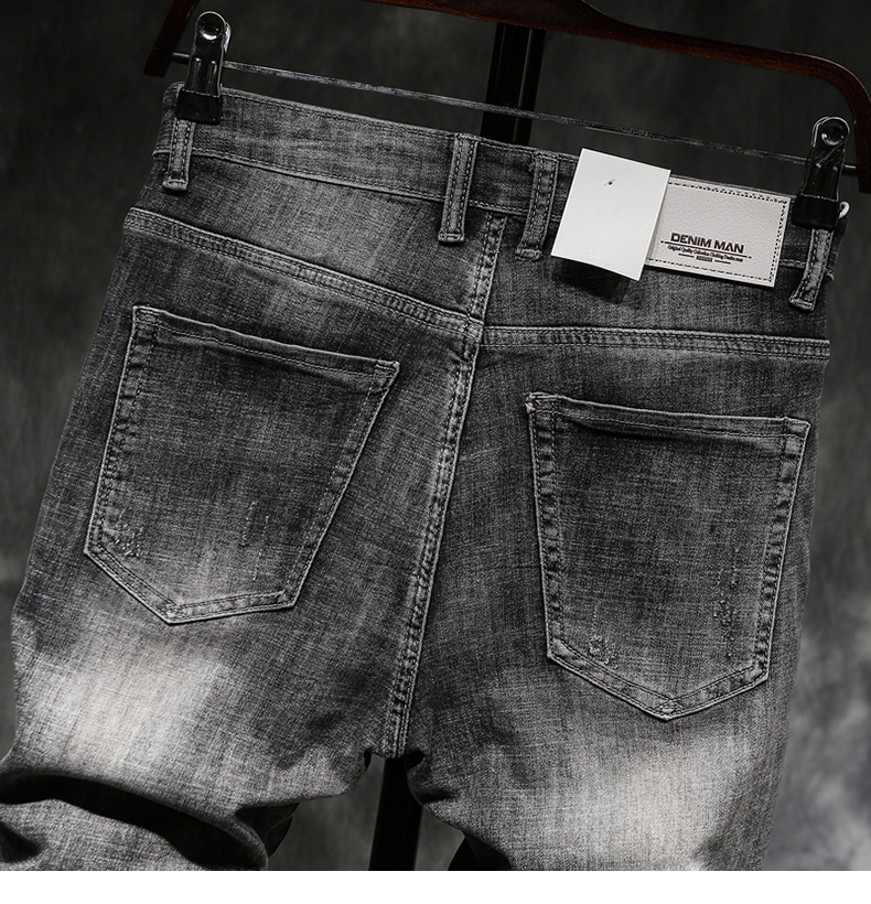 2019 Summer New Men's Short Ripped Jeans Fashion Casual High Quality Retro Elastic Gray Shorts Male