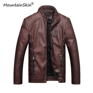 Image 2 - Mountainskin Mens Winter Autumn Casual Leather Jacket Fitness Motorcycle Faux Leather Bomber Jacket Male Outerwears LA766