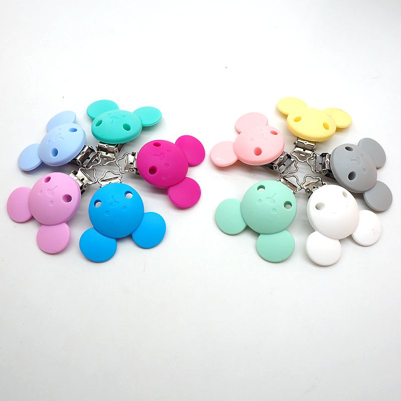 Купить с кэшбэком Chenkai 10PCS Silicone Pacifier Dummy Teether Chain Holder Clips DIY Baby Mouse Animal Nursing Toy Accessories BPA Free