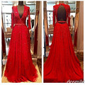 New Design Elegant Red Long Sleeves Evening Dresses 2017 Beads Sequins bling V-Neck Open Backless Crystal Party Prom Gowns