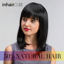 ESIN 16 inch Straight Hair Bob Wigs for Women Long Wig Synthetic Hair 70% Human Hair + 30% Synthetic Hair Elegant Neat bangs(China)