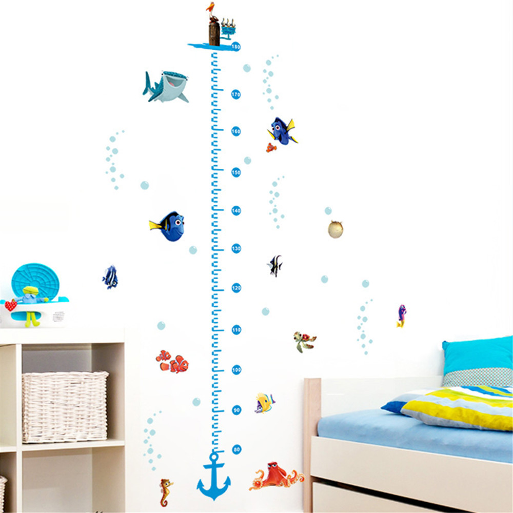 Nursery height growth chart wall sticker kids boys girls nursery height growth chart wall sticker kids boys girls underwater sea fish anchor finding nemo decorative decor decal poster in wall stickers from home amipublicfo Gallery