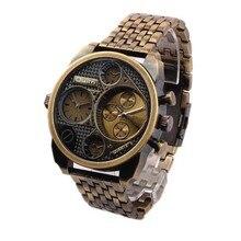 Oulm Marca de Lujo vestido de Los Hombres de Acero Lleno Del Reloj De Oro De Gran Tamaño Antiguo Masculino Ocasional Mira el Reloj Militar Relogio masculino